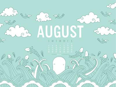 The Ink Nest August Desktop Calendar calendar nicole larue august illustration clouds octopus fish birds pattern
