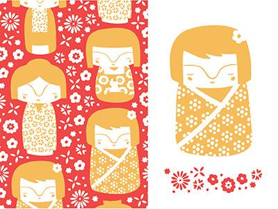 The Ink Nest September Calendar calendar nicole larue september japan kokeshi dolls patterns floral flowers hand drawn