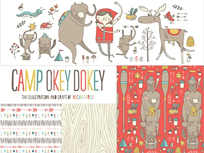 Camp Okey Dokey Kid's Apparel kids apparel camping bears animals woodland creatures arrows mushrooms illustration hand drawn nicole larue
