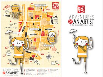 Kyoto Adventures Map map japan kyoto artist sushi city temples tea octopus illustration nicole larue
