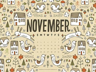 The Ink Nest November Calendar calendar fall acorns birds rabbits owl trees pine cones clouds fruit illustration nicole larue