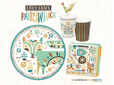 Knick-Knack Paddywhack Party Paper nicole larue illustration folk fox rabbit bird pattern party paper plate napkins cups floral