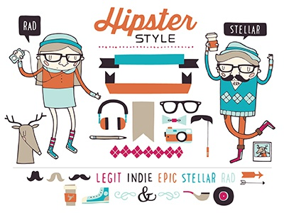 Hipster Style hipster rad stellar banners deer moustache glasses pipe record coffee camera argyle