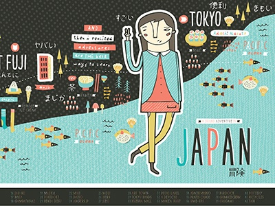 Japan Adventures Map japan nicole larue illustration map fish tokyo buildings