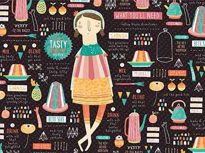 Jello Fabric! jello pattern fabric food recipe nicole larue teapots hand drawn dessert illustration