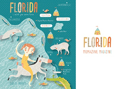 Momazine Map momazine magazine illustration map nicole larue florida animals tent bird manatee horse ocean