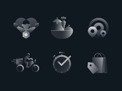Delivery Icons Set (Part 1) icons pack gradients gradient illustrator driver customer food icons set clock time bag location bike delivery icon set graphic illustration illustrated icons