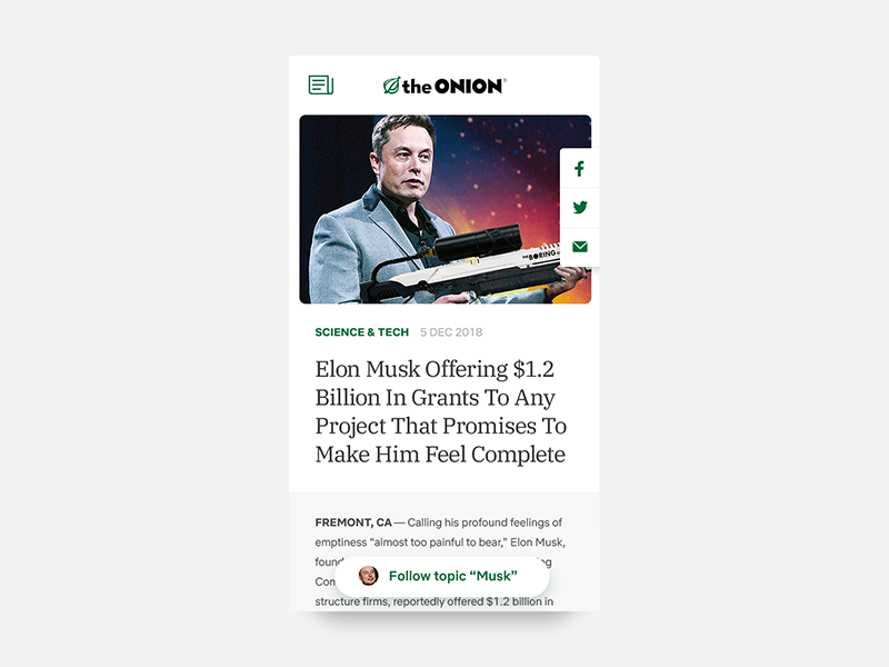 Daily UI #094 - News challenge daily tech science topic breaking headline elon musk article story onion news app interface ux ui