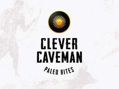 Clever Caveman cooking creative hustle weekend icon sun painting cave ancient handmade home made protein market food clever diet caveman logo branding paleo