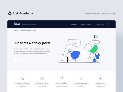 Lisk Academy — About illustration cryptocurrency crypto clean blue blockchain bitcoin web ux ui