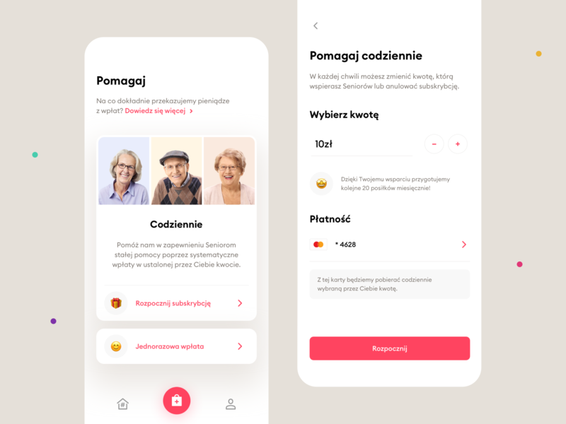#PosiłekDlaSeniora – Mobile app cards coronavirus covid-19 covid clean fundraising charity payment payments mobile apps mobile app mobile ux ui