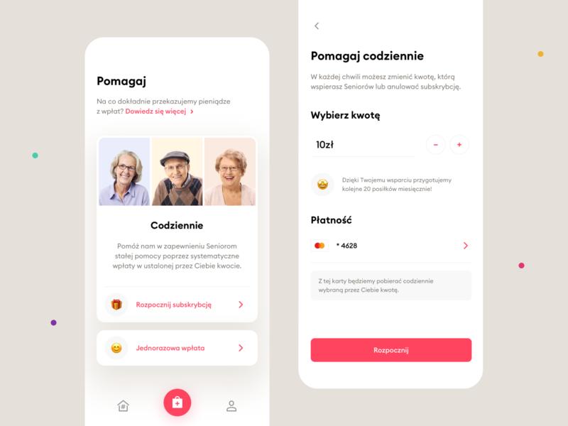 #PosiłekDlaSeniora – Mobile app cards coronavirus covid-19 covid clean fundraising charity payment payments mobile apps mobile app mobile ux ui