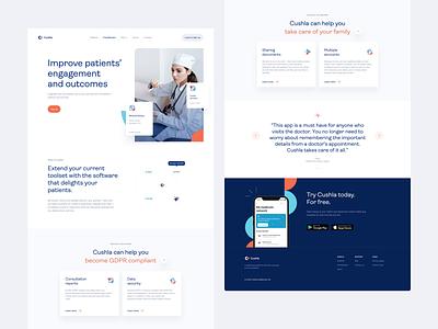 Cushla –website ux ui clean web blue design user interface user experience product design healthcare saas b2b landing landing page website homepage desktop animation video motion
