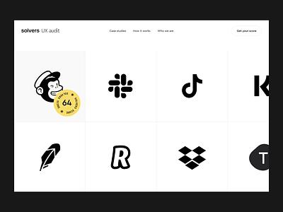 Solvers Audits exploration interaction video typography flat minimal motion desktop animation website design web clean ui