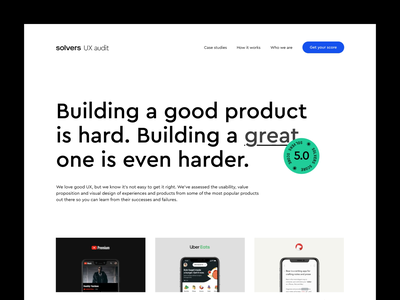 Solvers UX Audits – Exploration white black typography minimal interaction video landing page animation landing homepage desktop website design web clean ux ui