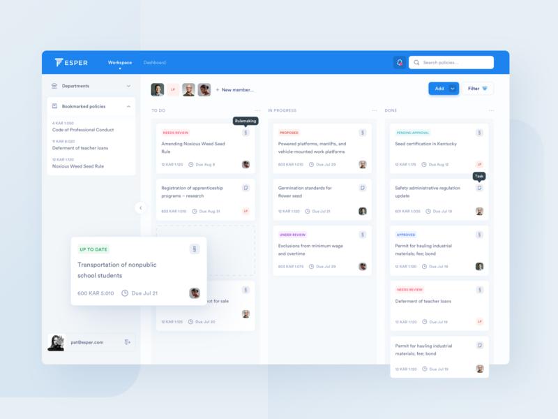 Esper –a modern framework for public policy design management trello task web ux ui clean blue board kanban dashboard