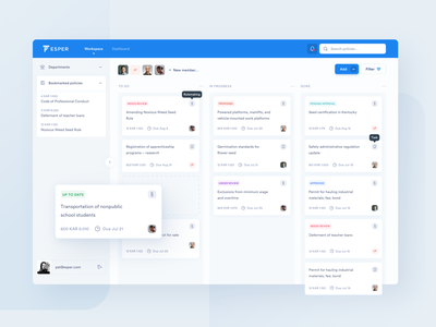 Esper – a modern framework for public policy design management trello task web ux ui clean blue board kanban dashboard