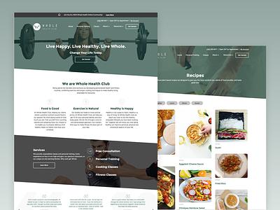 Whole Health Club Website recipes fitness health ux ui