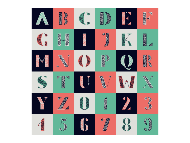 36 Days Of Type - All 36 days of type i type patterns ornament lettering goodtype flourish dropcap set 36daysoftype