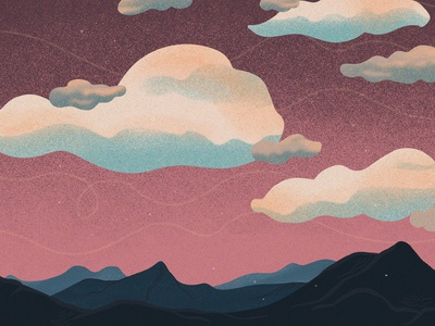 Pink Sky Landscape Illustration
