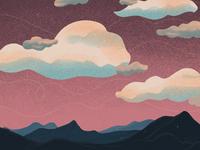 Pink Sky Landscape Illustration