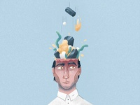 A lot in his mind - illustration