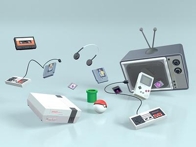 Nintendo Retro illustration c4dart motiongraphics design motion concept 3d 3d art c4d