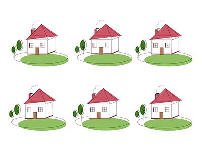 Little houses lines drawing illustrator house minimal illustration