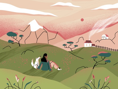 calm. sunset field countryside mountains companion dog landscape plants nature girl character design character illustration