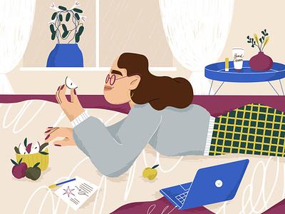 fruity 🍎 shaketember bedroom snack bed room plant girl character design character illustration
