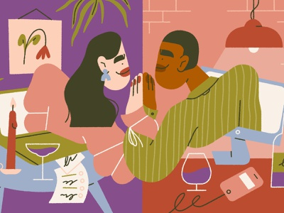 virtual date 👀 computer room dating video call social distance editorial editorial illustration character design character illustration