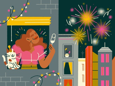 happy new year 🎆 night fireworks 2021 happy new year holidays new year celebration city girl character design character illustration
