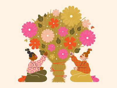 ACR fund commission 🌷 adobe illustrator adobe summer joy friendship spring bouquet flower girl character design character illustration