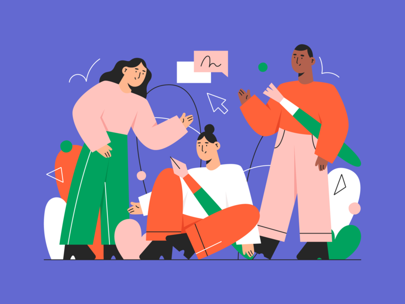 working together 💪 creative abstract team character people illustration