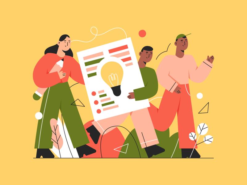 bright ideas 💡 people plants creative teamwork idea abstract team character illustration
