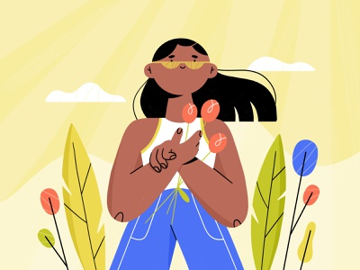 summer vibin' 🌞 vacation sunny summer plants girl character illustration