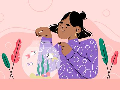 best friend 🐠 best friends aquarium fish character design plants plant girl character illustration