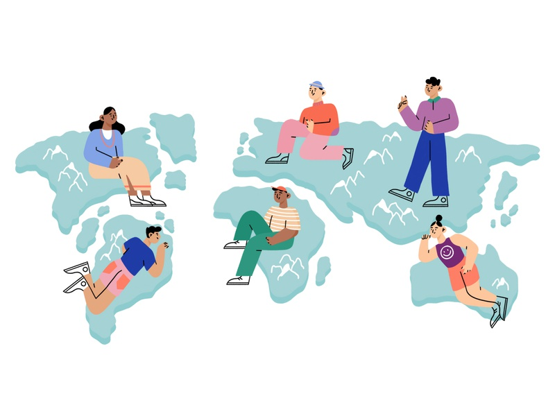 design without borders 🖍 diversity world map collaboration team workplace creative industry freelancer freelance design people character design character illustration