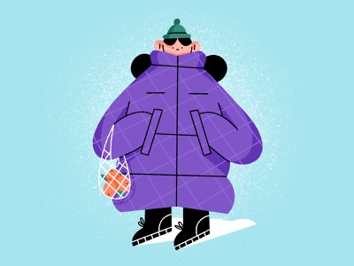 frozen ⛄️ snow puffer coat cold winter character design girl character illustration