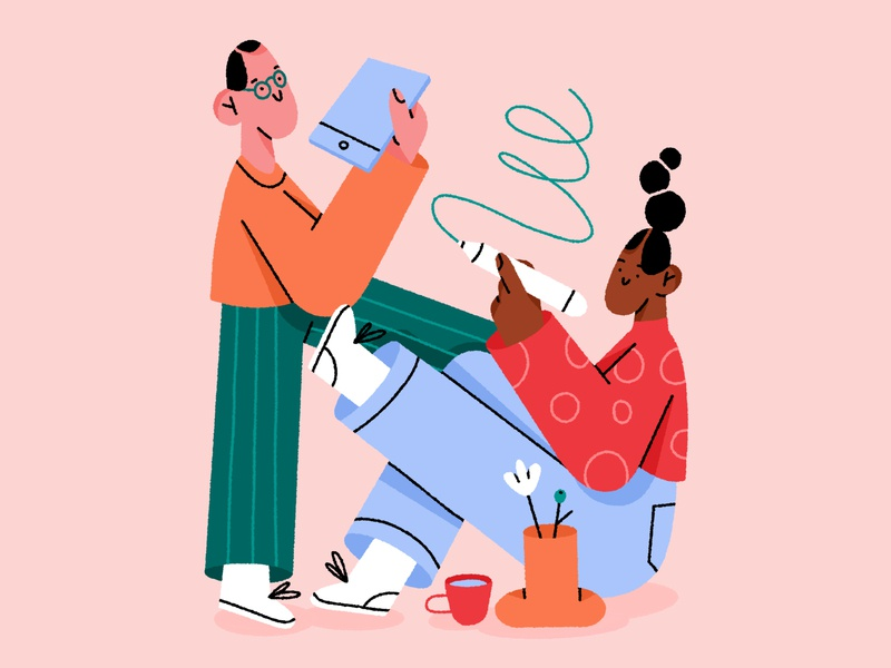 working together 👯 plant community creative work collaboration people character design character illustration