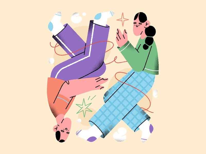 two of us 💕 abstract couple people boy girl character design character illustration