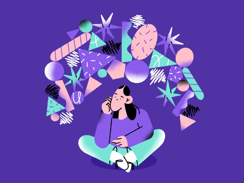 what's going on 🤯 geometric thinking mess shapes abstract girl character design character illustration