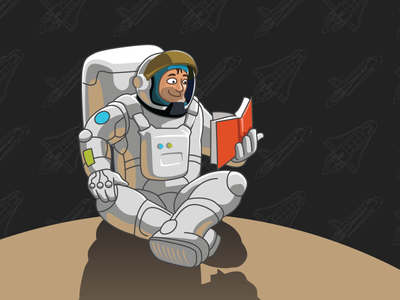 Book Club space shuttle astronaut space illustration