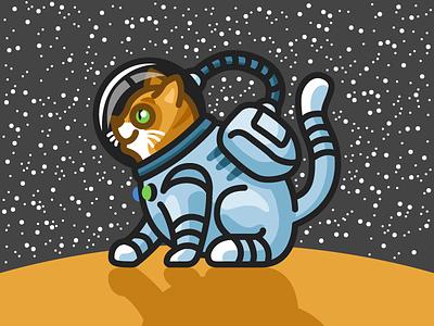 Space Cat illustration cat space