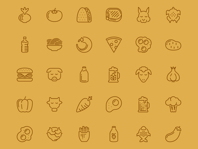 Line Food icon set outline food icons