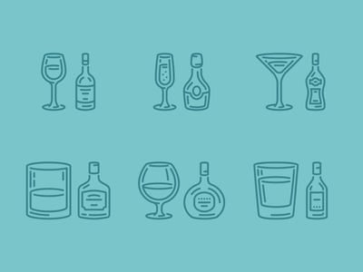 Cheers bottles glasses alcohol drinks icons