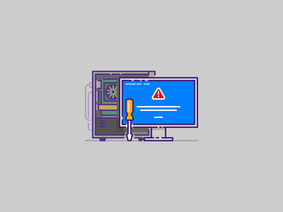 Computer repair and IT icon it computer illustration