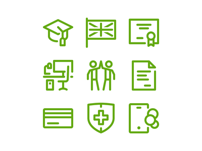 Simple Icons medical insurance work place mobile card documents team diploma languages education 2gis icons