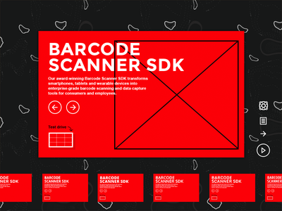Interactive banner font red black line frame typography