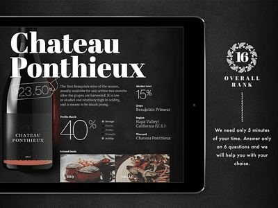 Wine screen typography icons price tag wine finder